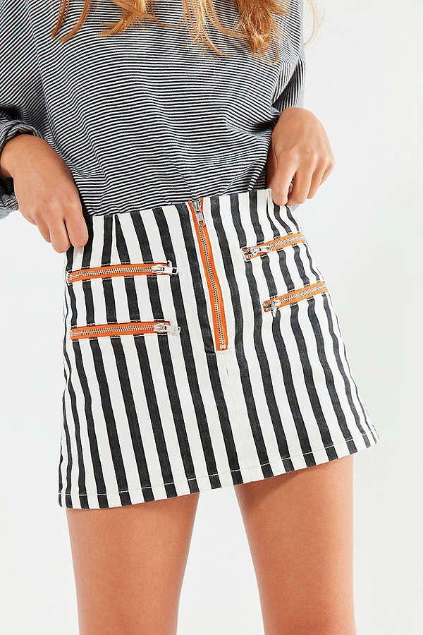 998a2b17cb BDG Striped Contrast Zipper Mini Skirt | Bottoms | Mini skirts ...