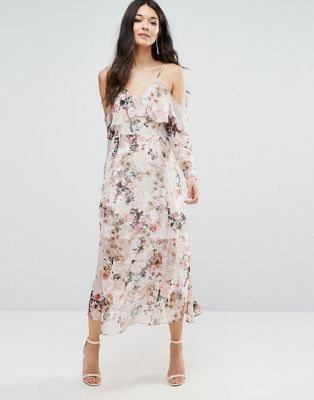 d85b21427075 River Island Floral Midi Dress With Cold Shouler | Put This On My ...