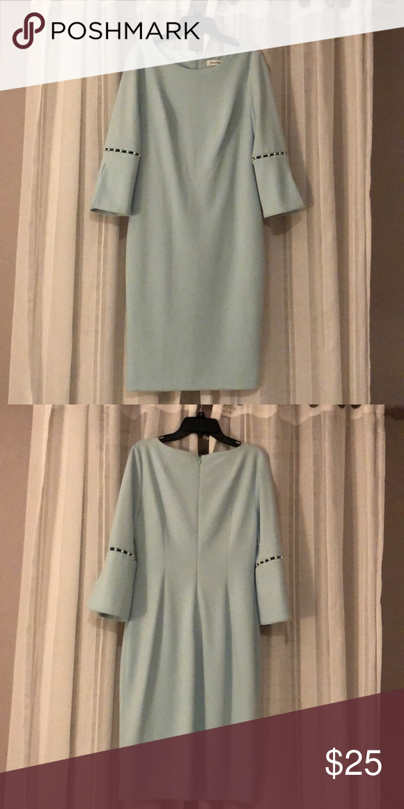 Calvin Klein Bell Sleeve Dress It Is A Modest Light Blue Color With Bell Sleeves In Good Condition Only Bell Sleeve Dress Dresses With Sleeves Bell Sleeves