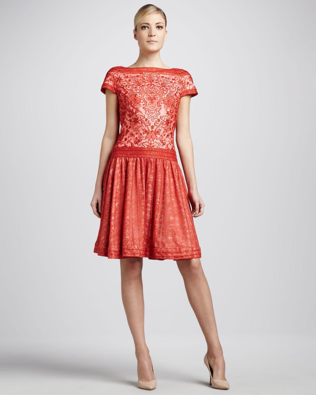 Tadashi Shoji Cap-Sleeve Lace Cocktail Dress - Neiman Marcus | Best ...