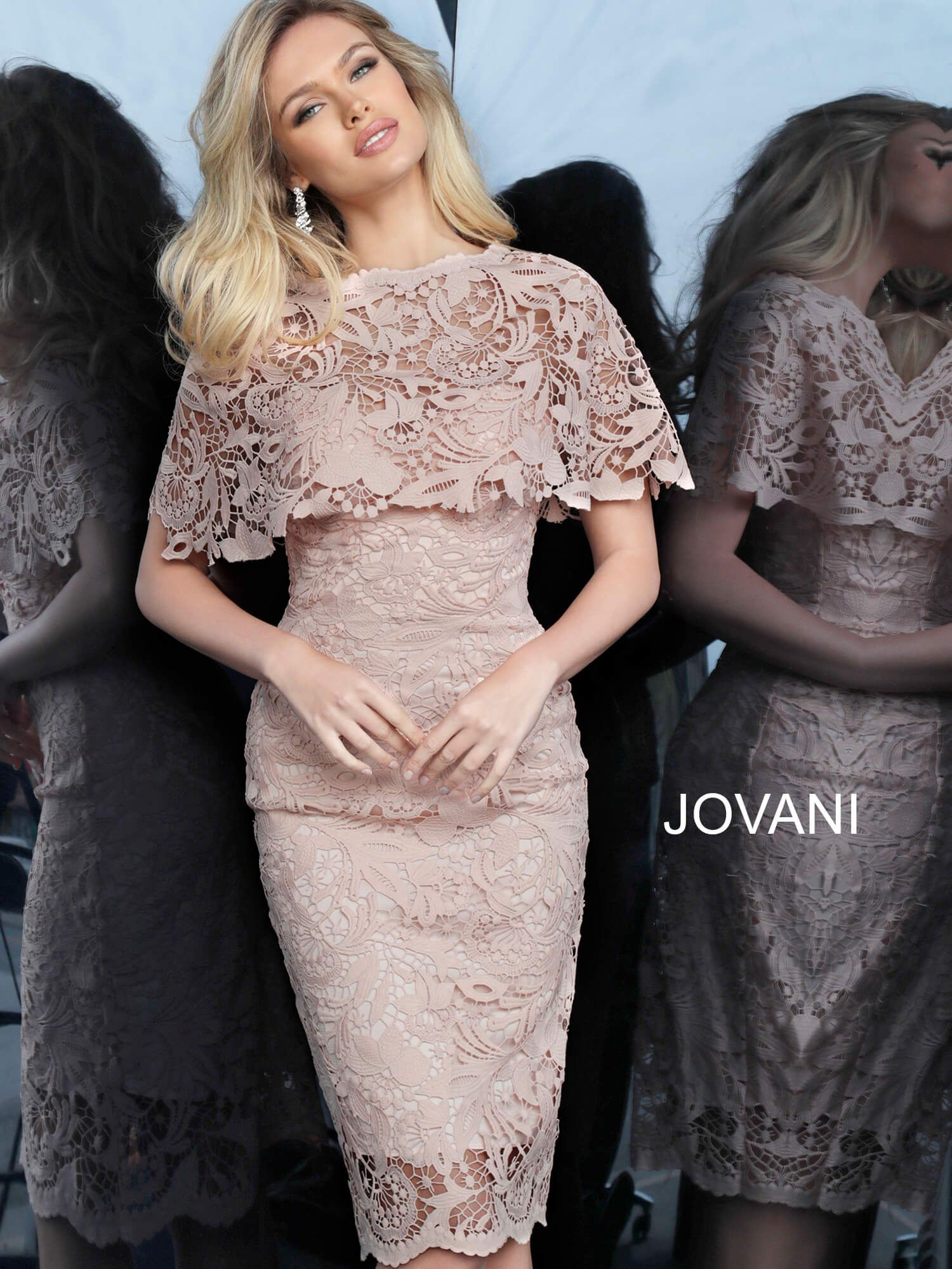 Jovani 1401 | Light Pink Lace Knee-Length Cocktail Dress