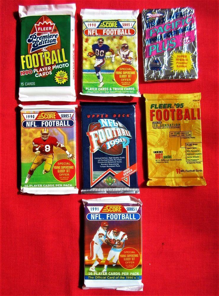 100 football cards old unopened packs lot score fleer
