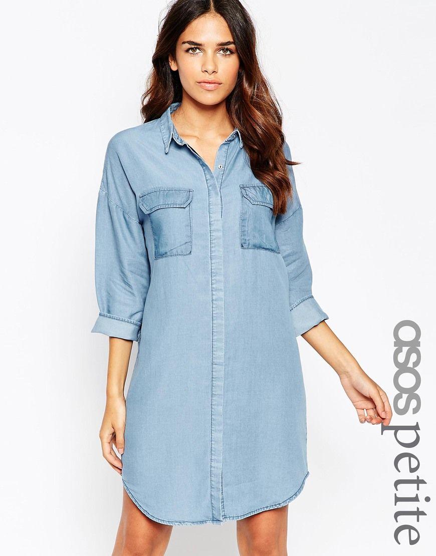 Image 1 of ASOS PETITE Denim Oversized Chuck On Shirt Dress | || I ...