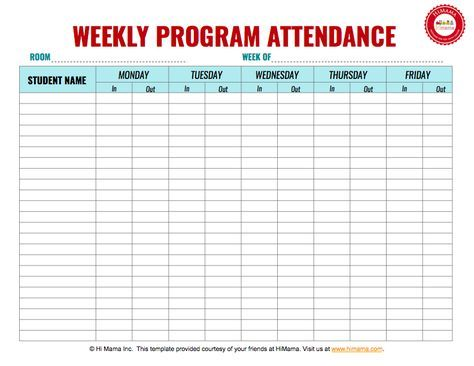 Daycare Sign In Sheet Template, Weekly (M-F) Educational - attendance register sample