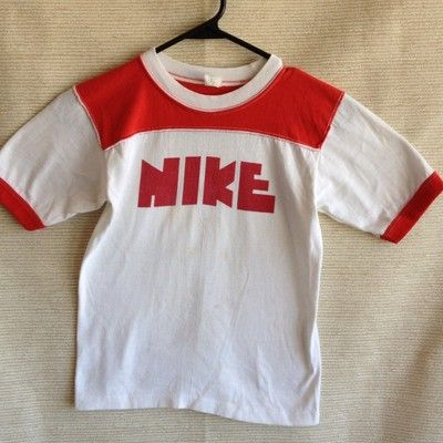 4c1363eead12 Vintage 70s 80s NIKE pinwheel White Red Block Letter Shirt Youth M Womens  XS   S