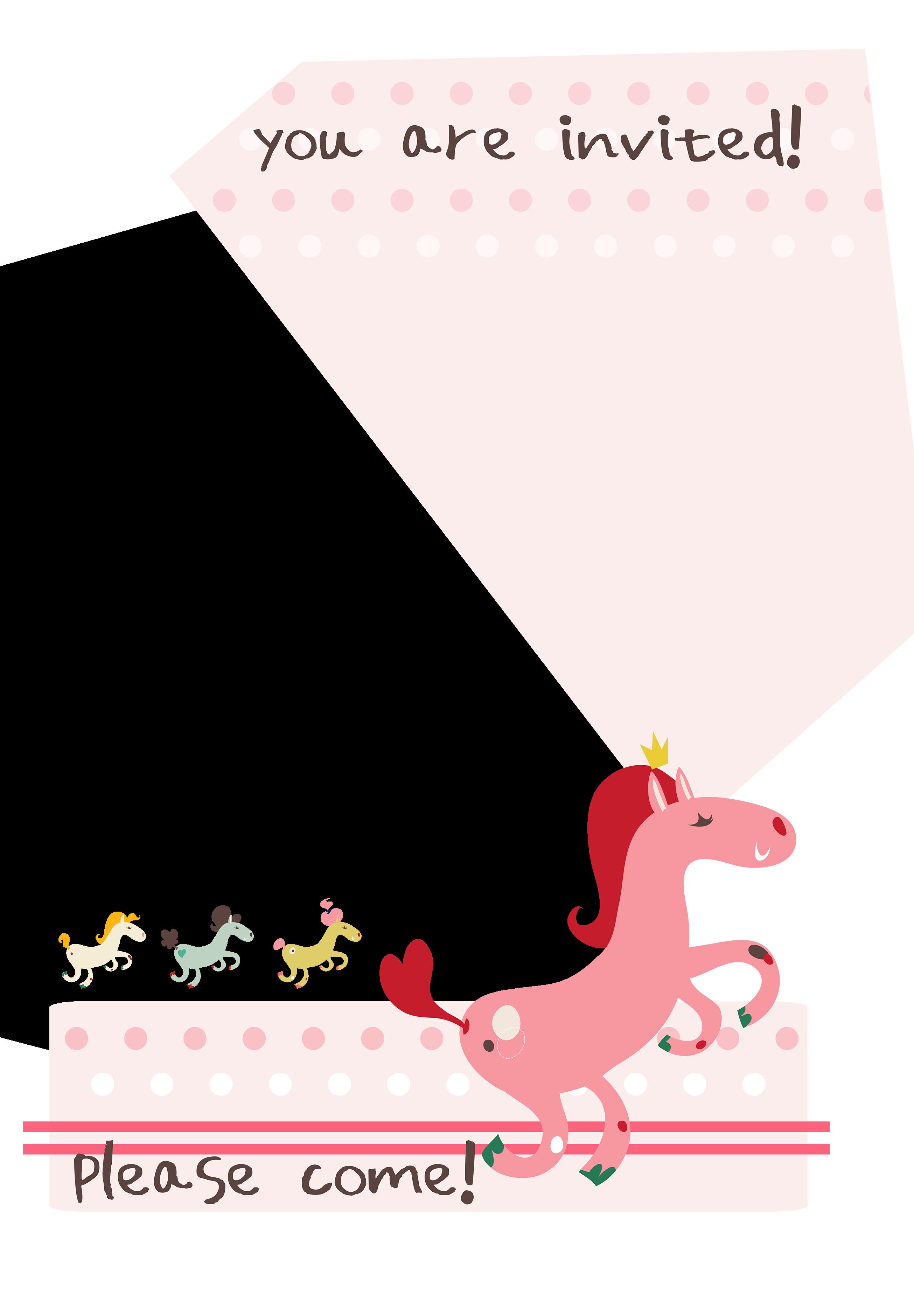 birthday pony birthday invitation