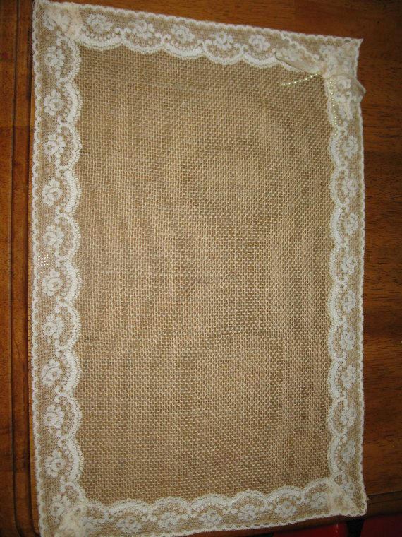 Shabby chic lace and burlap placemats shabby chic lace for Burlap and lace bedroom