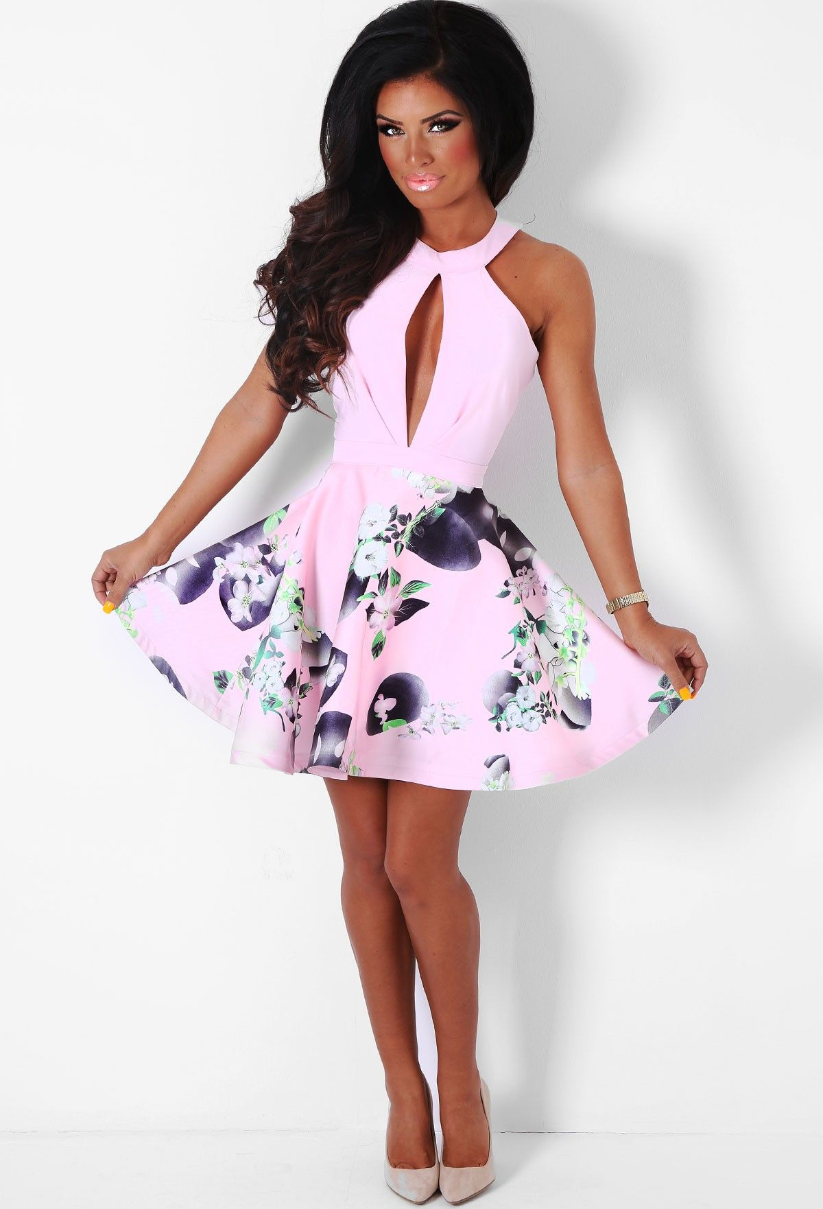 b1e67c82 Cholena Pink Floral Skater Dress | Pink Boutique | ımm dress ...