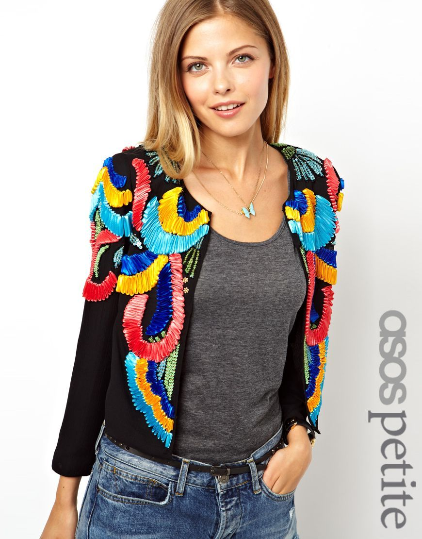 ASOS PETITE Exclusive Jacket With Ribbon Embellishment