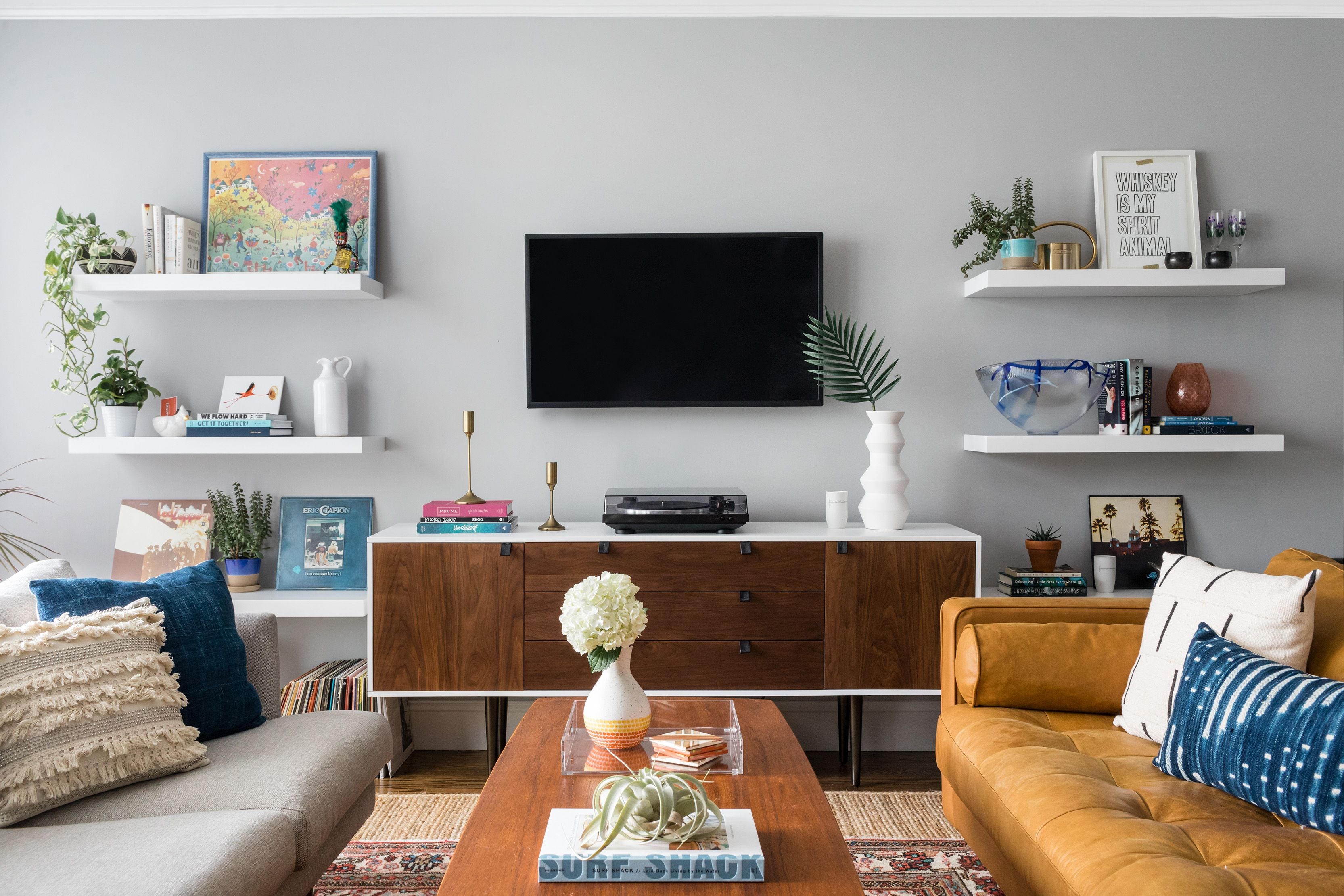 Modern Bohemian Living Room In Boston, MA With @homepolish. Photography By  Joyelle West. #livingroom #homedecor #midcenturymodern #midcentury ...