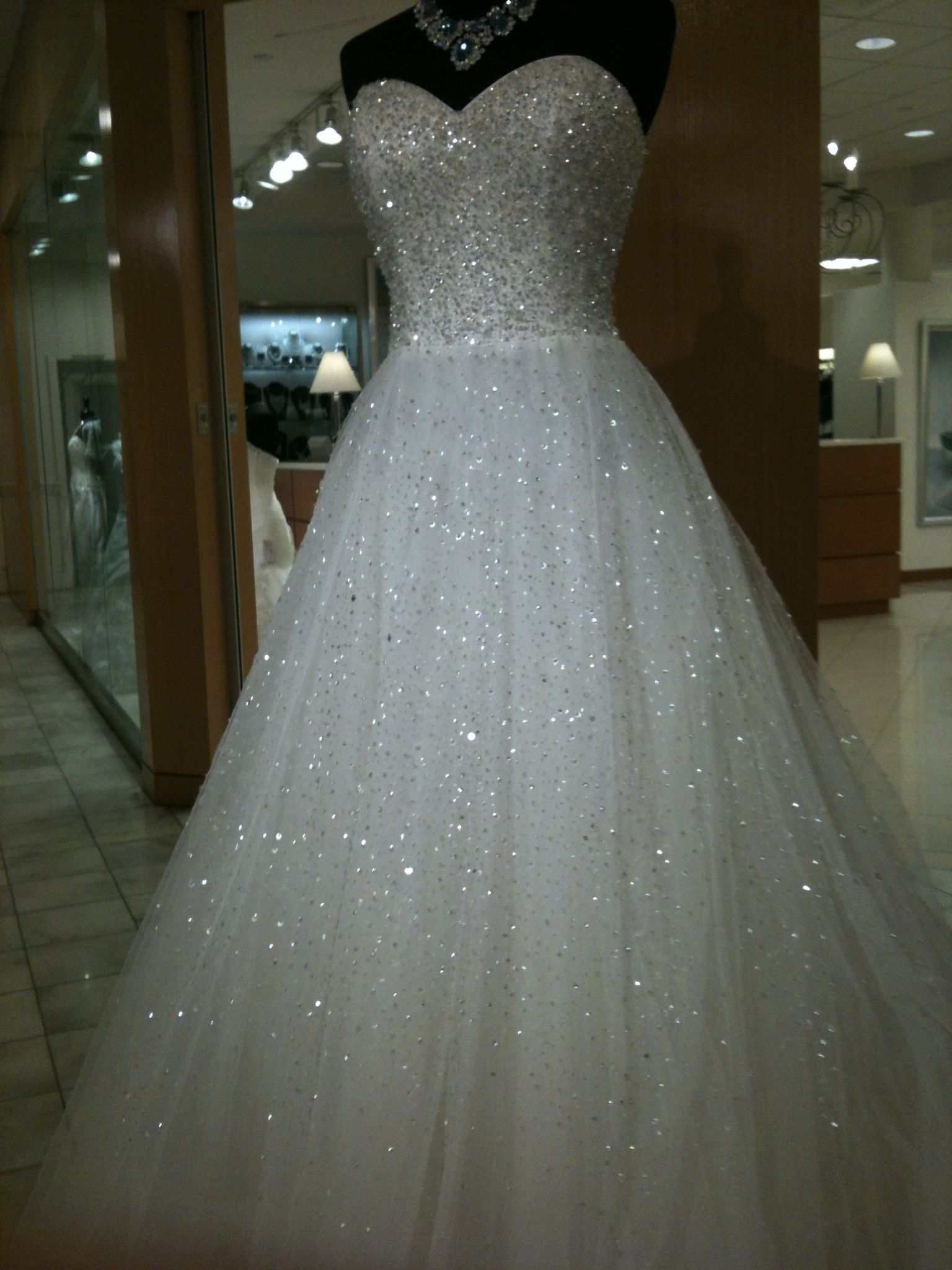 Ball Gown Petite Wedding Dress Sparkle Shine Chapel Train Strapless ...