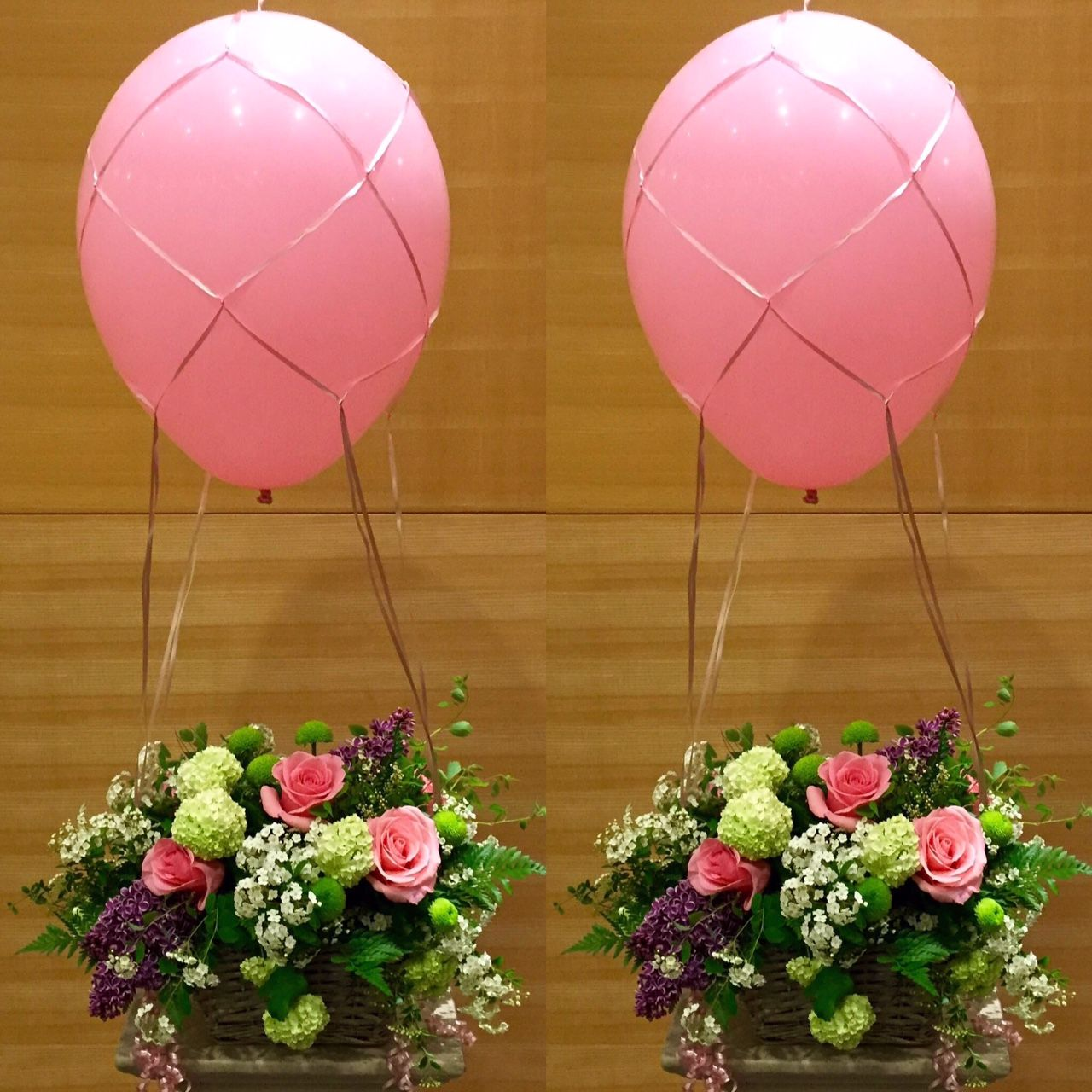 Hot Air Ballon Atop An English Garden Take Me Away Roses Speria Lilacs Hydrangeas Ferns Baby S Breath Mini Mums And More Floristika Vozdushnye Shary