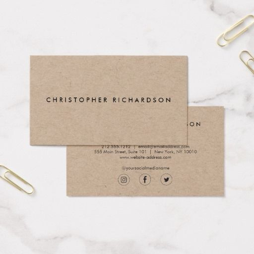 Simple minimalist business card on kraft paper card stock business simple minimalist business card on kraft paper card stock colourmoves