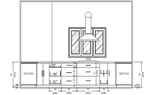 Drawing Of Kitchen Section Drawing In Autocad Autocad Interior Design Drawings Kitchen Elevation