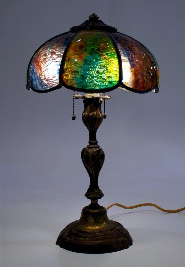 Art Nouveau C 1910s Small Bronze Base Slag Glass