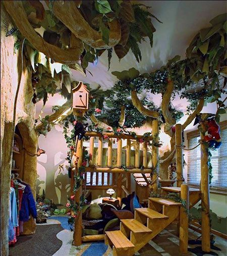 kids room designed to look like a scene from the jungle book rh pinterest com