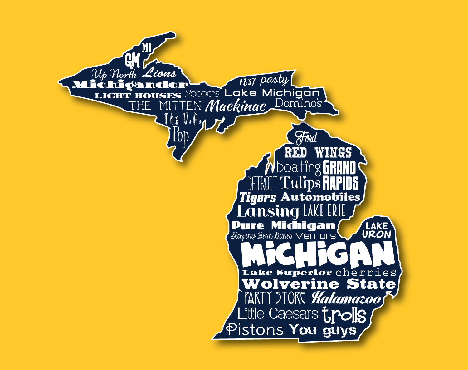 Original Artwork Using Words To Describe State Of Michigan Show Off The Mitten In Your Home With This Print That Det Michigan Outline State Outline Mitten