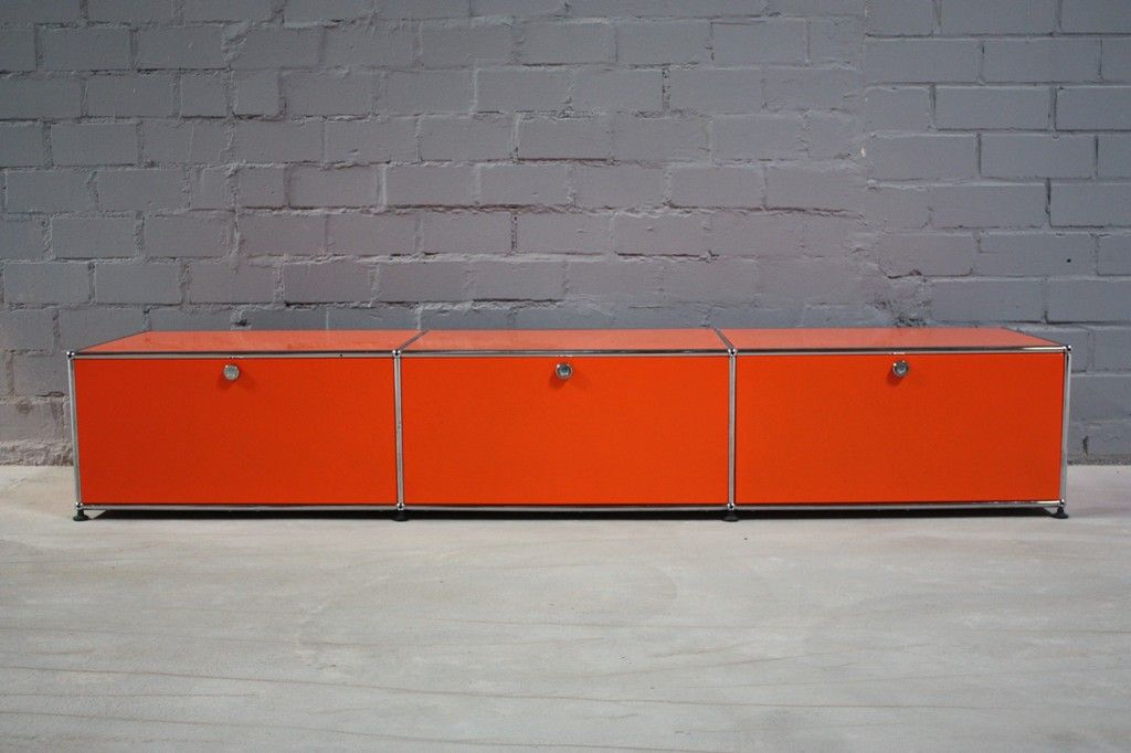 USM Haller Lowboard Regal Medienboard Hifi Board Orange Mit 3