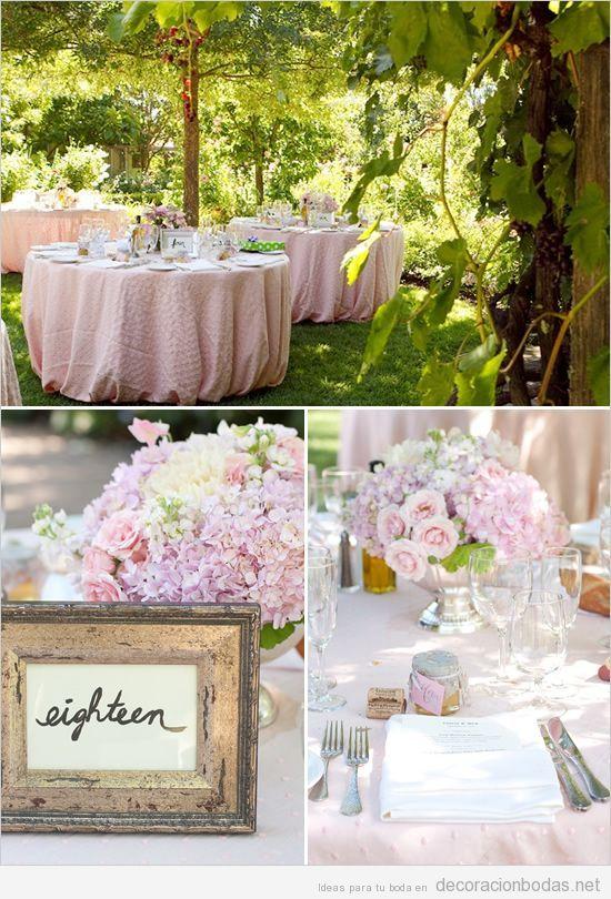 Decoraci n de boda en jard n con manteleria y flores rosas - Arreglos de flores para bodas ...