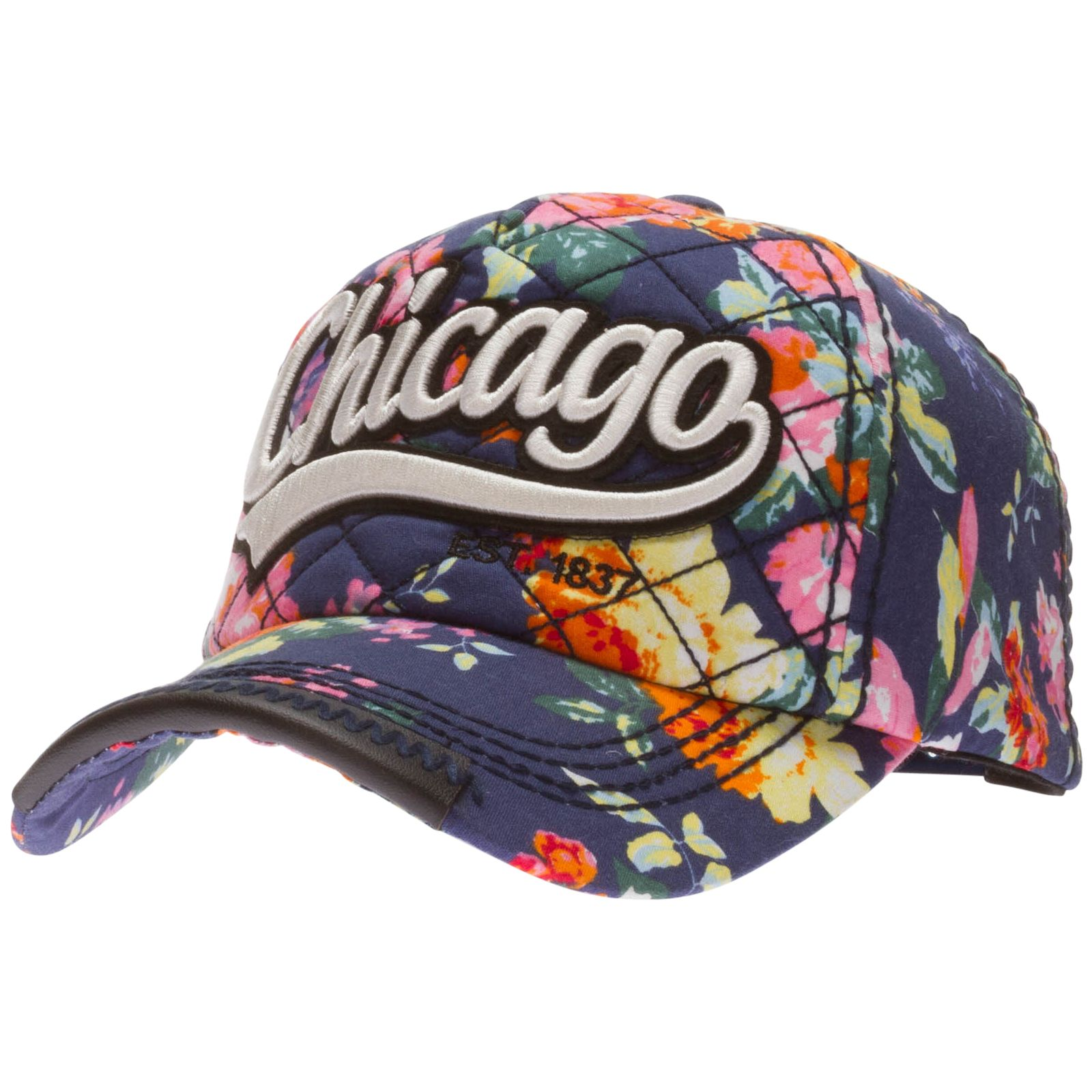 Cabelas Trucker Hat: Chicago Navy Floral Adjustable Hat By Robin Ruth #Chicago