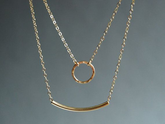Kameli necklace double layered 14k gold filled by kealohajewelry