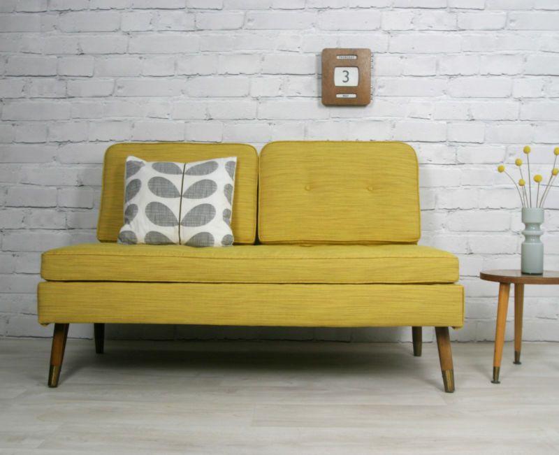 Details About Retro Vintage Mid Century Danish Style Sofa