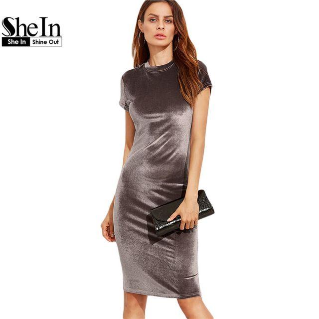 a4c3d708d52 SheIn Women Brown Velvet Sheath Dresses Summer Ladies Round Neck Short  Sleeve Knee Length Elegant Pencil Dress