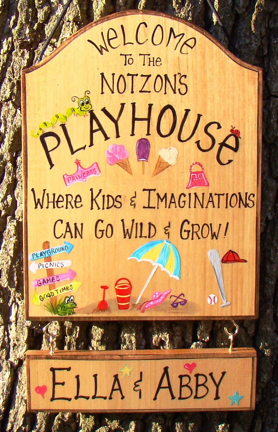 You can see the tree which this tree house castle clings to through - Custom Playhouse Sign For Kids Girls Boys Room Tree House Cabin Playground Camping Tent Personalized Names Etc Designs Can Be Changed