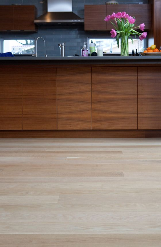 White Kitchen Oak Floor solid 3/4 inch thick white oak wood flooring, five inch plank