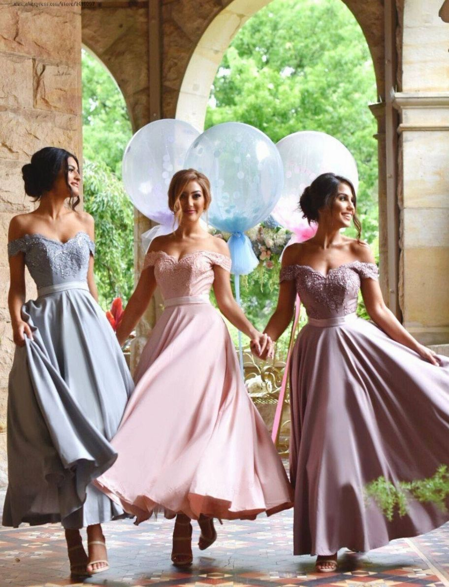 Customized great lilac long bridesmaid dress with zipper applique