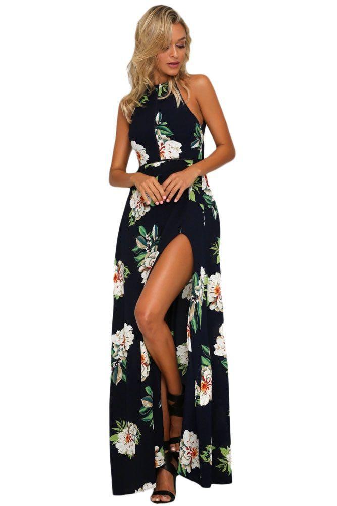526aca712fe Black Floral Backless Halter Split Maxi Boho Dress https   www.modeshe.