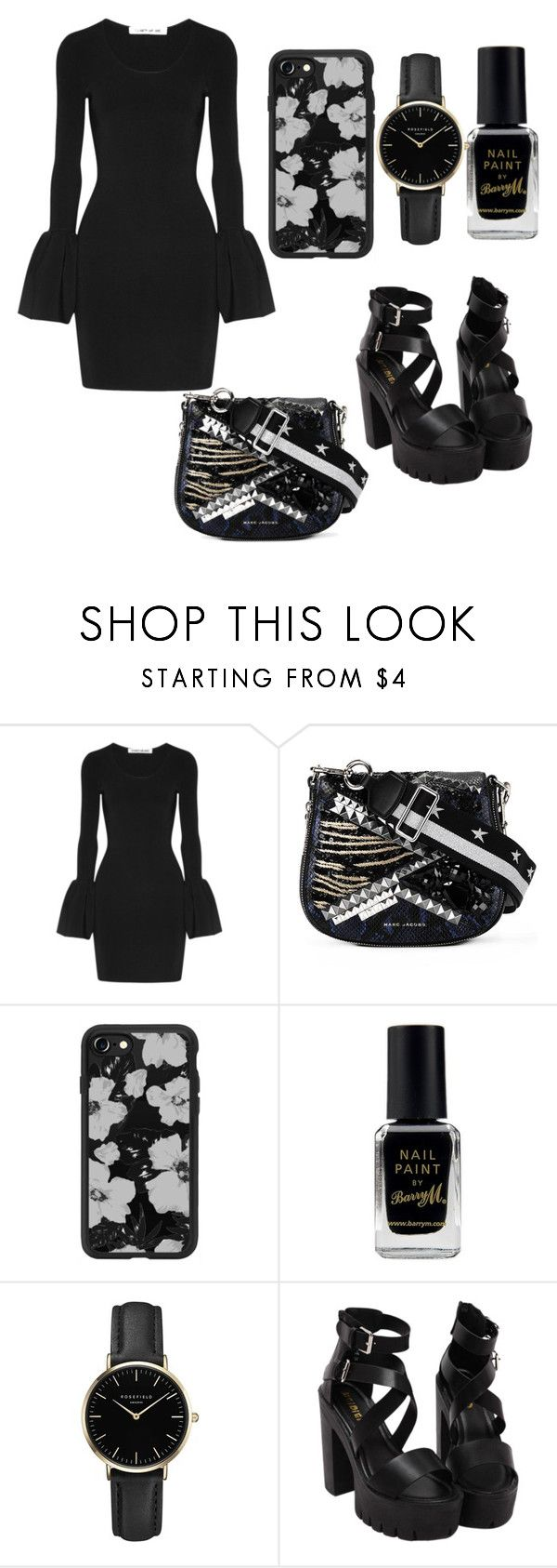 """Black cute look"" by topgirlkate ❤ liked on Polyvore featuring Elizabeth and James, Marc Jacobs, Casetify, Barry M and ROSEFIELD"