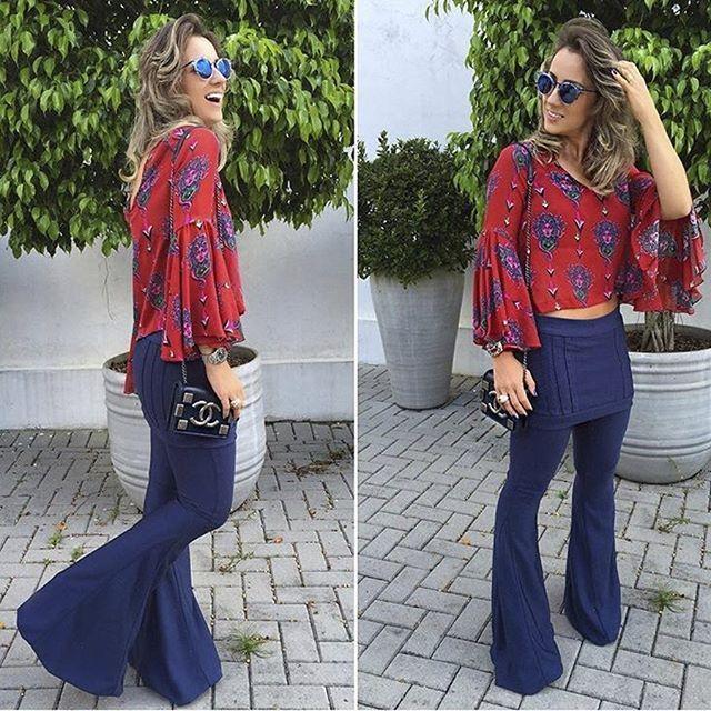 f5d6c6222 Trend das Bloggers  Calça flare com saia sobreposta – M de Maria SM ...