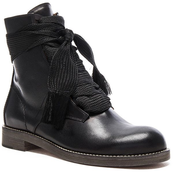 Chloe Leather Harper Lace Up Boots (69.370 RUB) ❤ liked on Polyvore featuring shoes, boots, real leather boots, laced up boots, lace up boots, leather lace up shoes and lacing boots
