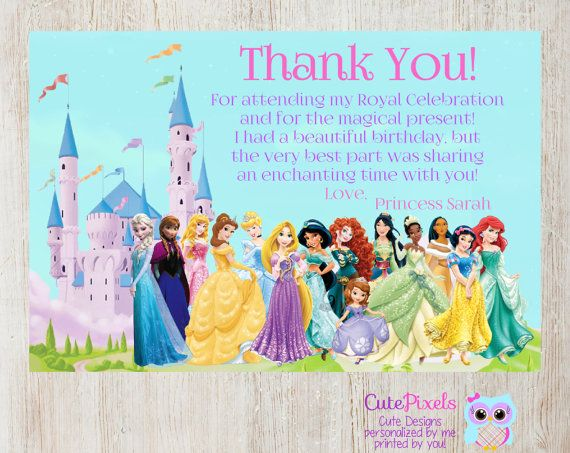 disney princess thank you card princess birthday thank you disney
