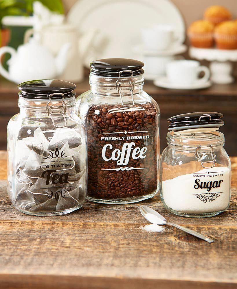 Vintage Kitchen Glass Jars   LTD Commodities #kitchendecorideas #kitchenremodel