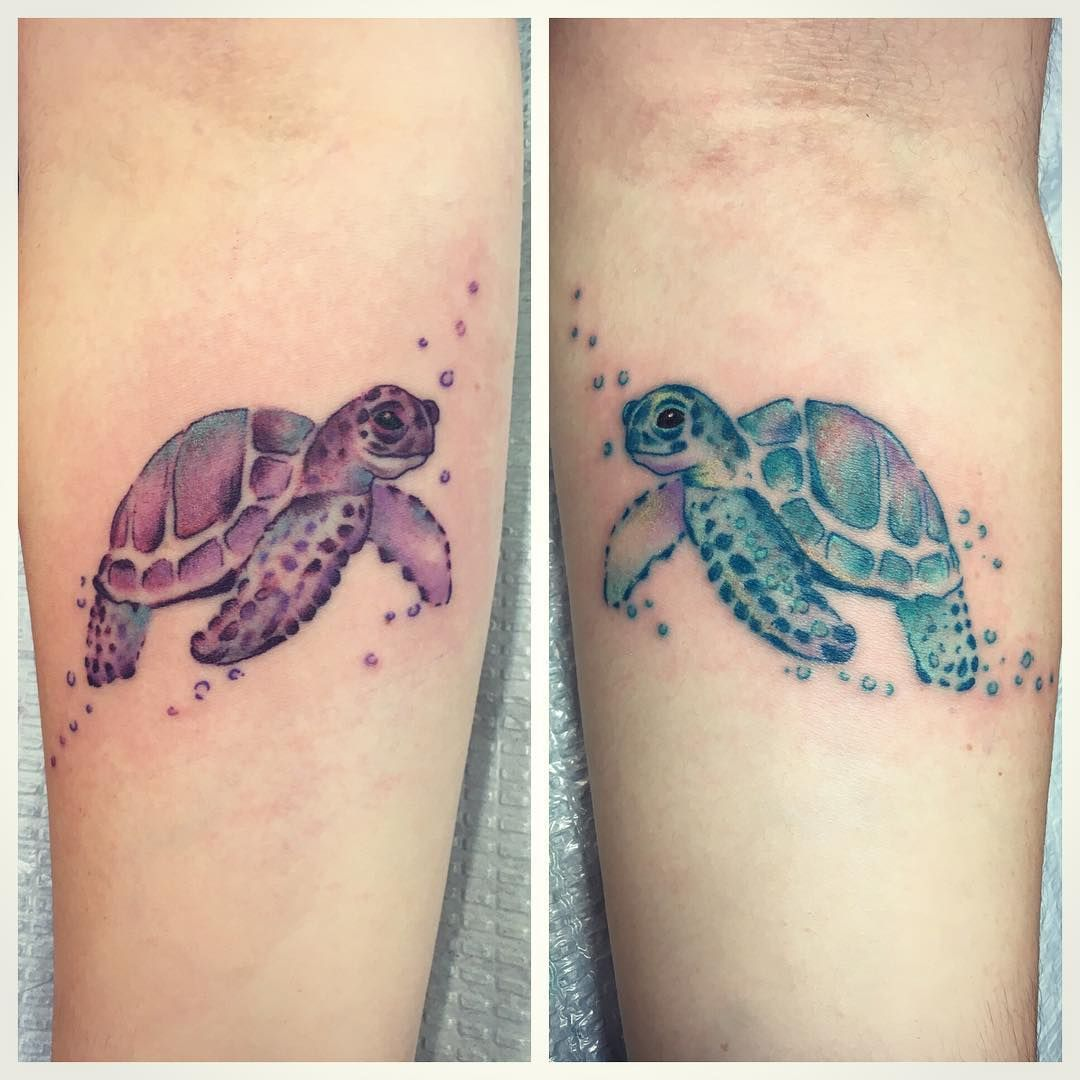 bee6d03a22f8e Matching sea turtles by Larkin 👯#seaturtletattoo #watercolortattoo  #matchingtattoos