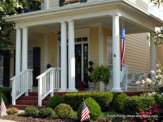 A beautifully sophisticated front porch  love the wicker  from Front Porch  IdeasPorch Columns Design Options for Curb Appeal and More   Porch  . Front Porch Columns Images. Home Design Ideas