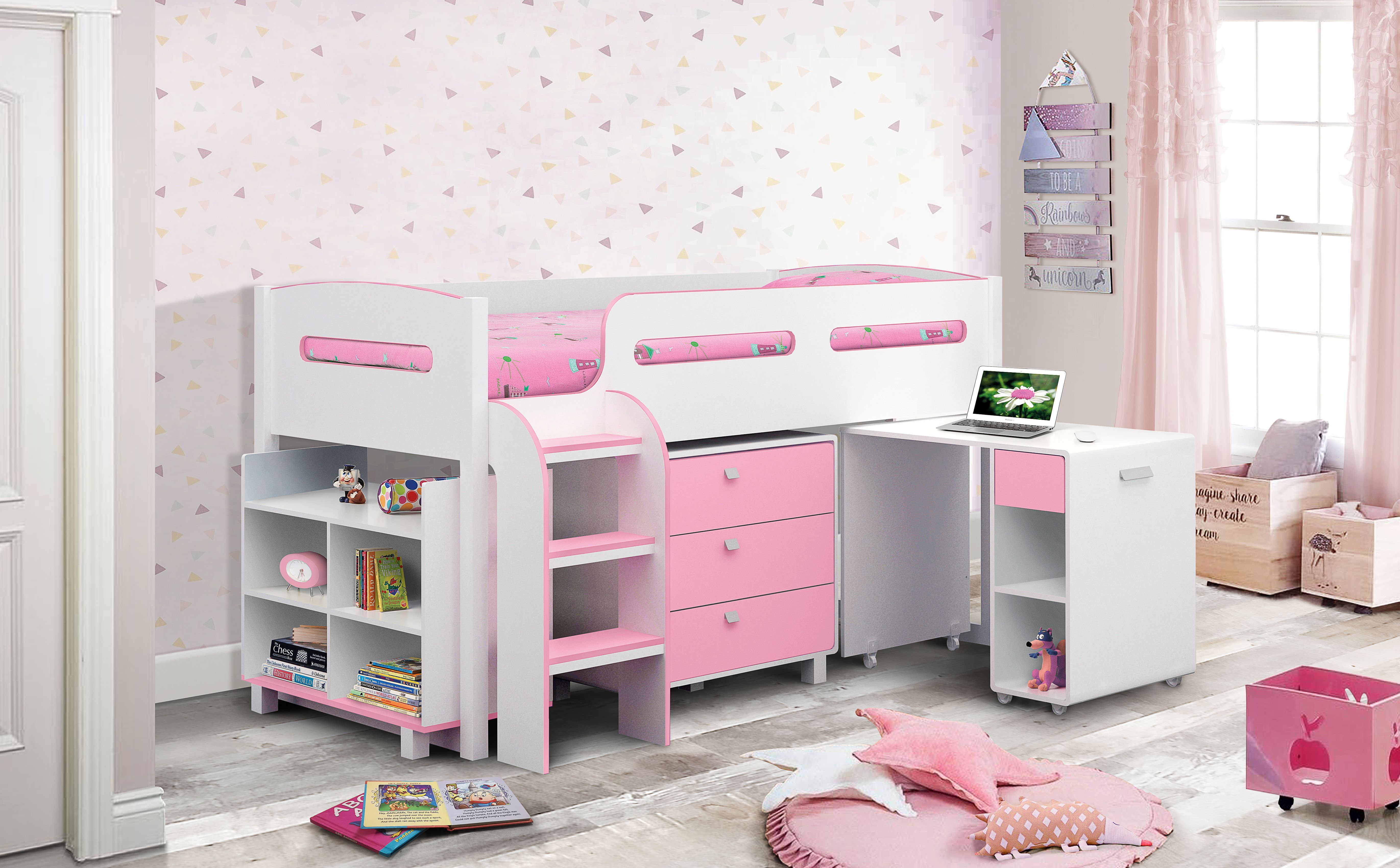 Versatile Practical And Utterly Charming The Kimbo Pink White Mid Sleeper Cabin Bed