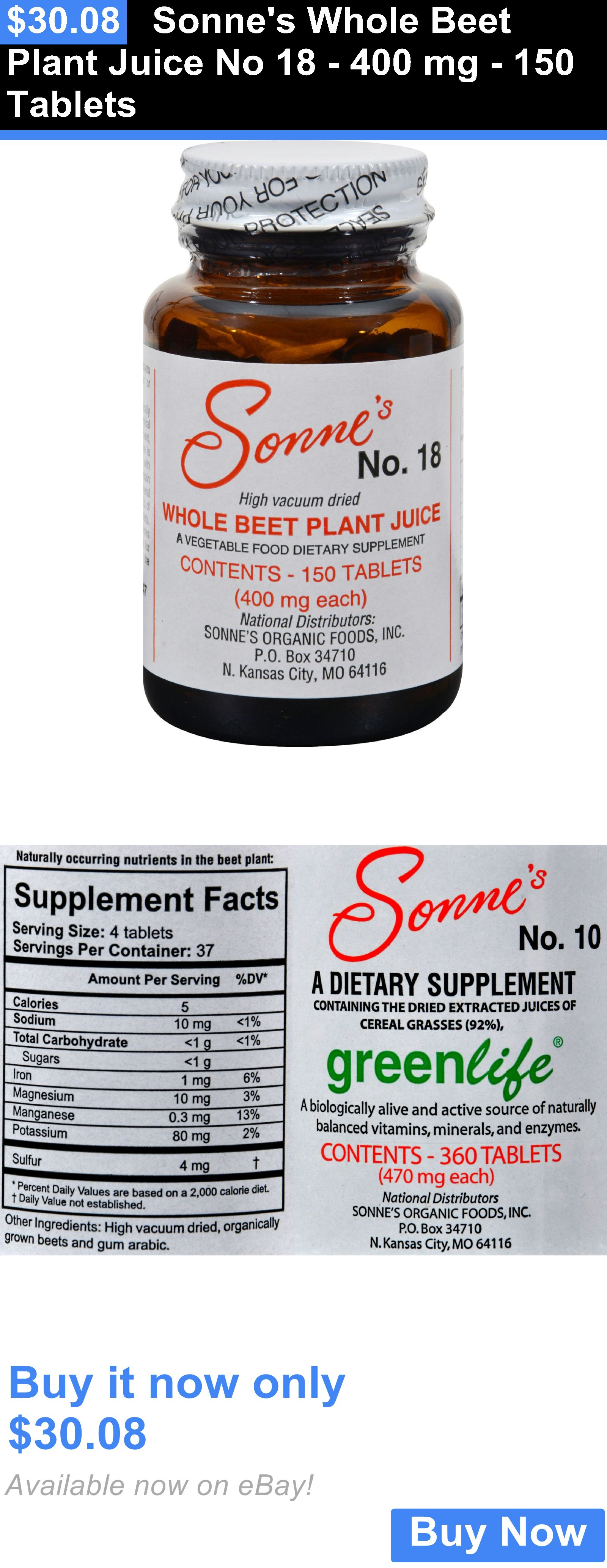 Vitamins and Minerals Sonnes Whole Beet Plant Juice No Mg