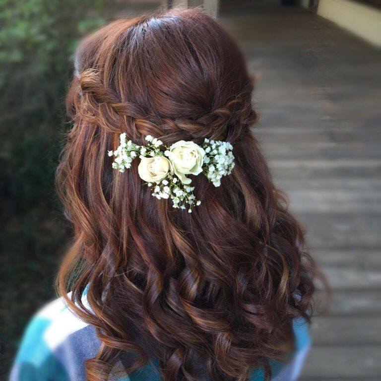 Half Up With Braids Accent Flower In Half Up Hair Wedding Style