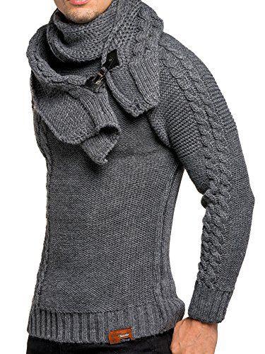 LEIF NELSON Herren Pullover Strickpullover Hoodie Sweatshirt Pulli  Schalkragen LN7025N ad7e803e19