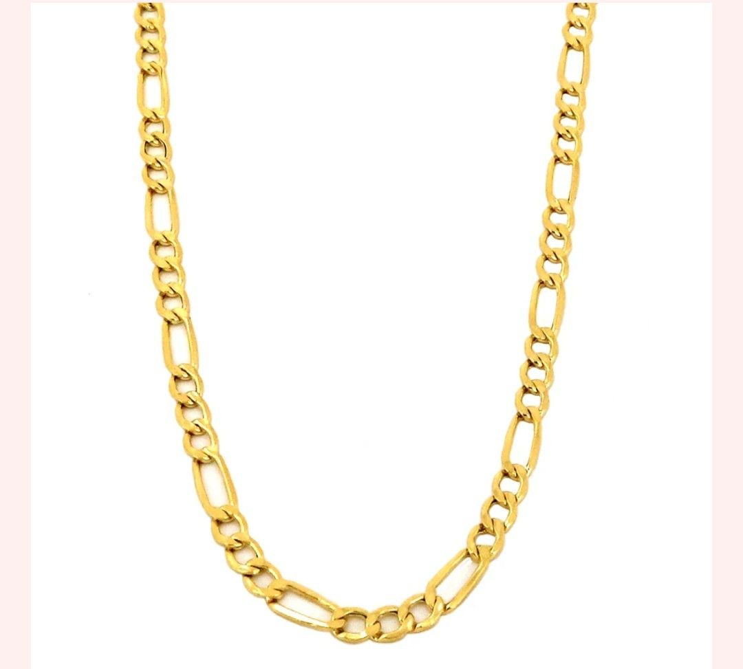 Real 10k Yellow Gold Hollow Figaro Chain Necklace 2 5mm And 16 Chain Necklace Necklace 10k Gold Chain