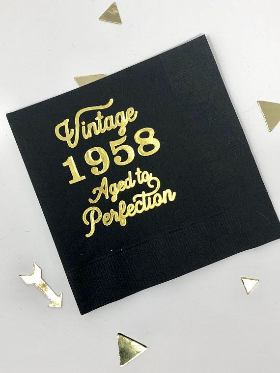 60th Birthday Decor Party Decorations Vintage 1958 Cocktail Napkins Black Gold For Him