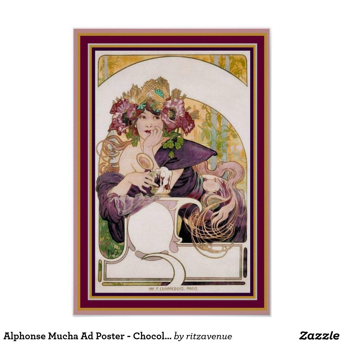Alphonse Mucha Ad Poster Chocolat Ideal 13 X 19 Zazzle Com