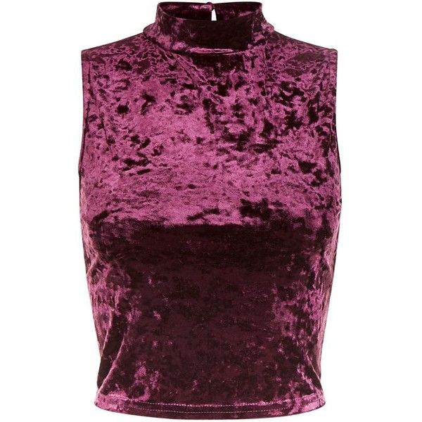 01ecac4891187 Burgundy Velvet Turtle Neck Crop Top ( 12) ❤ liked on Polyvore featuring  tops