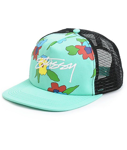 54bdad9af0429 Step up your style with this mint and black trucker hat that features a  screened floral