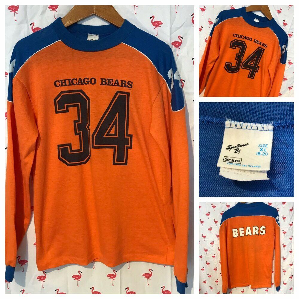 Vintage Chicago Bears Youth XL Walter Payton #34 Long Sleeve Shirt