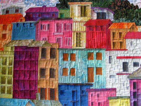 Art Quilt Manarola Italy Confetti Applique Wall by SallyManke