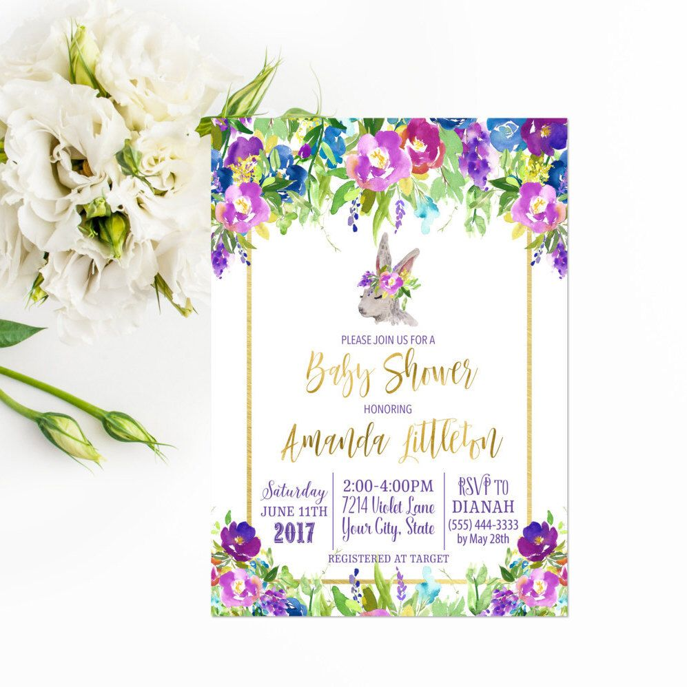 Purple Floral Baby Shower Invitation Printable Bohemian Baby Shower ...